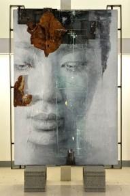 Vitaliano, Wa 12.016, 2016, pittura e materiale, integrazione e sviluppo, 106x156 cm