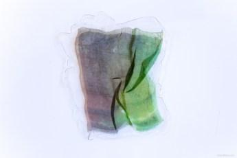 Matt Jacobs, Split Green, pressed painting, resin, plexiglass, organza, 37x30 cm, photo Claudia Scuro.