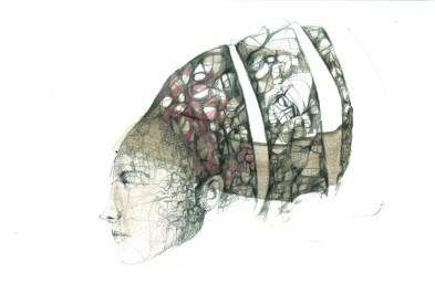 Nicola Oliveri, Cenni solenni IV, 2016, matita, carboncino, rapidograph, olio e bitume su carta, cm 28x42