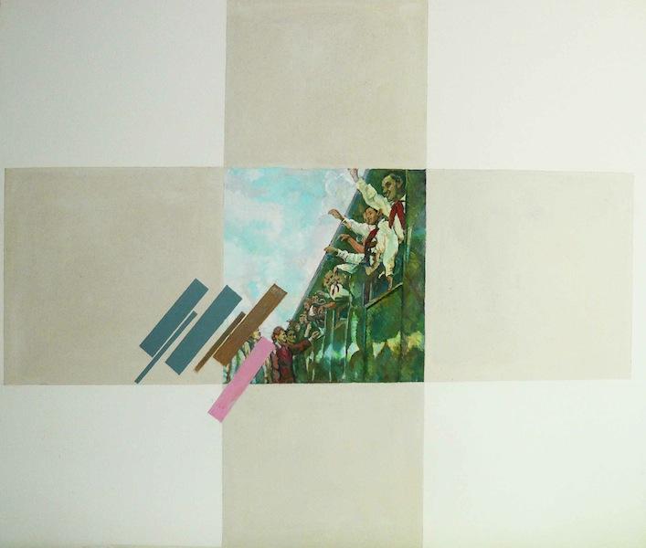 "Ilya Kabakov, Charles Rosenthal: Twelve Commentaires on Suprematism, 1926, ""Goodbye"", 1999, olio su tavola, 120x138 cm, Collezione Olgiati, Lugano Photo Ilya and Emilia Kabakov Studio, Long Island"