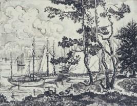 Paul Signac, L'Ile-aux-Moines, 1929, inchiostro di china acquerellato su carta applicata su tela, 71.5x91 cm, Collezione privata Fotografia: Maurice Aeschimann
