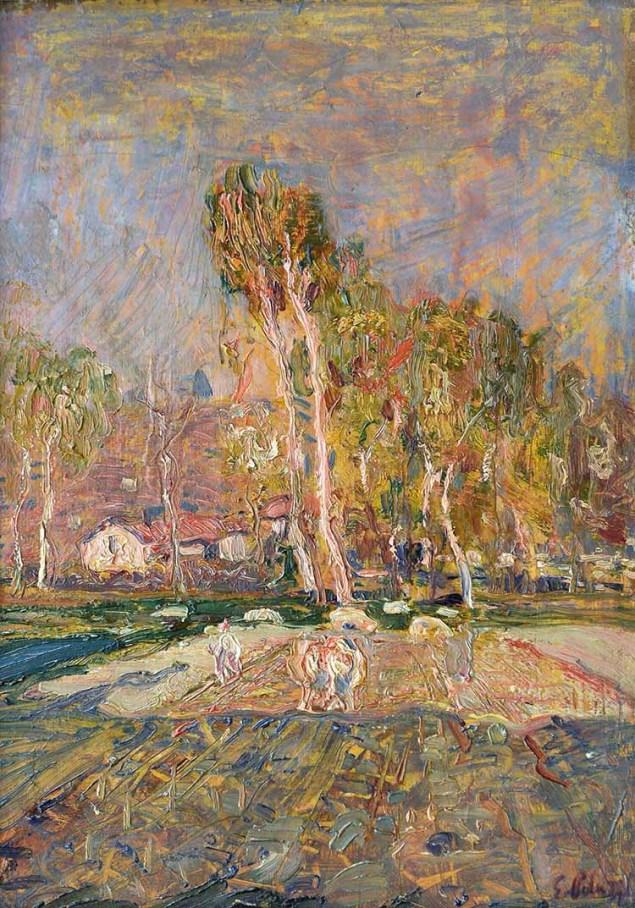 Peluzzi Eso, Autunno a Cairo 1922, olio su tavola, cm. 24x33