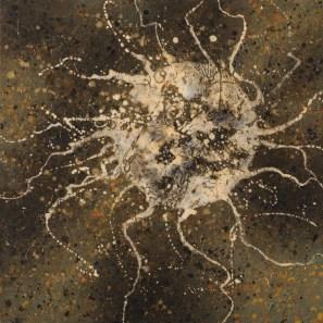 Alberto Di Fabio, Corpo astrale in oro, 2016, acrilico su tela, 60x60 cm Courtesy Luca Tommasi Arte Contemporanea, Milano