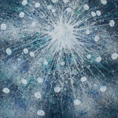 Alberto Di Fabio, Interstellare, 2016, acrilico su tela, 100x100 cm Courtesy Luca Tommasi Arte Contemporanea, Milano