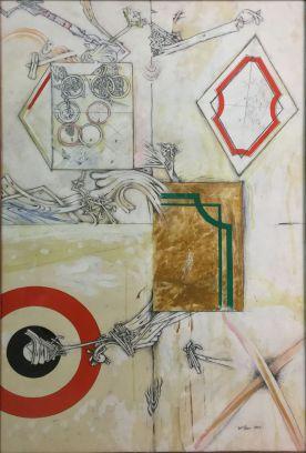 Lucio Del Pezzo, Senza titolo, 1962, tecnica mista su carta, 98,5x65 cm