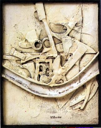 Lucio Del Pezzo, Senza titolo, 1962, tecnica mista su tela, 45.5x35.5 cm