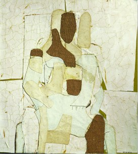 Conrad Marca-Relli, Conrad, Seated Figure 1955, collage and mixed media on canvas, cm.89x81. Courtesy Galleria Open Art