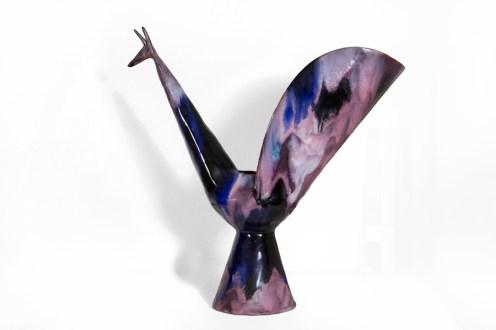 Fausto Melotti, Pavone, 1955, ceramica smaltata policroma, 31x31 cm