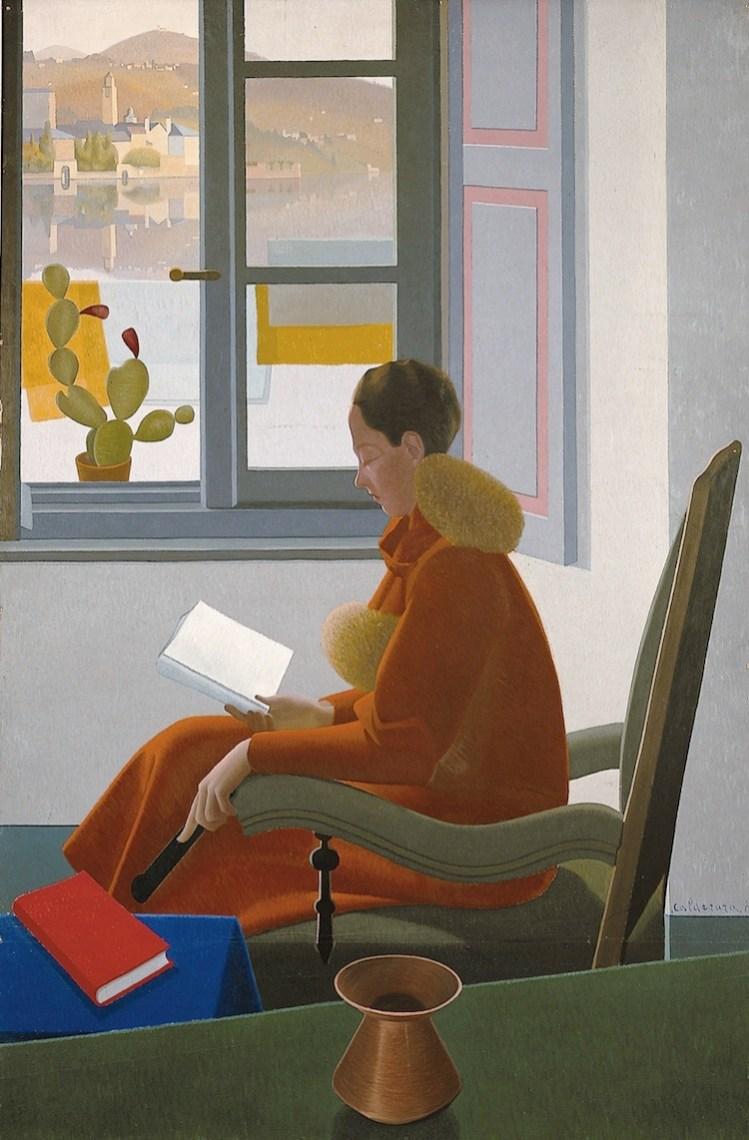 Antonio Calderara, La finestra e il libro, 1935, olio su tela, 185x122 cm, Fondazione Calderara, Vacciago di Ameno © Fondazione Calderara, Vacciago di Ameno