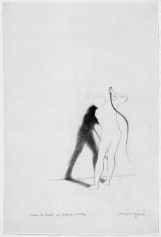 Claudio Parmiggiani, Uomo che frusta la propria ombra, 1983, matita su carta, 40,5 x 27 cm, Galleria civica di Modena