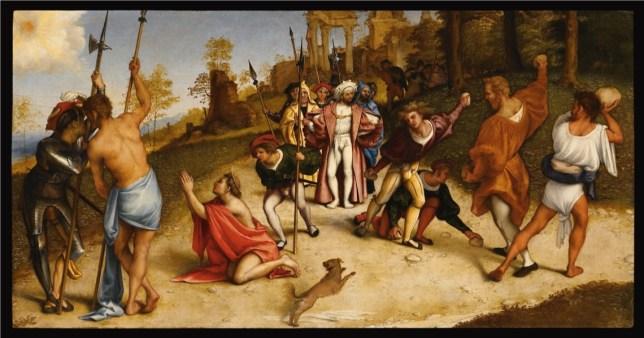 Lorenzo Lotto, Martirio di Santo Stefano, 1513-16, olio su tavola, 51x97 cm, Accademia Carrara, Bergamo