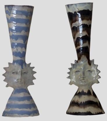 Fausto Melotti, Vaso sole, 1950 circa (due pezzi), ceramica smaltata policroma, 27x17x13 cm ciascuno