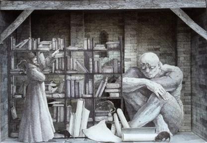 Monolocale 55 (Genizah), 2016, china e acquerelli su carta, cm. 21x30
