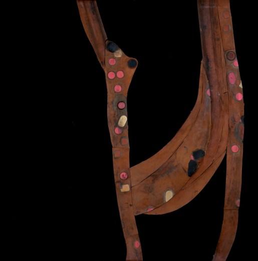 Organismi ancora ben definiti e vulnerabili, 1970, 110 x 110 cm Collage di copertoni di bicicletta su tela. Collezione privata. Foto: Pino dell'Aquila