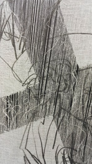 Giorgio Tentolini, Degenere, 2016-17, stampa su garza scomposta, 40x60 cm (dettaglio) [riferimento: Ernst Ludwig Kirchner, Study On Red Tart, 1914 distrutta dai nazisti come opera ritenuta degenere]