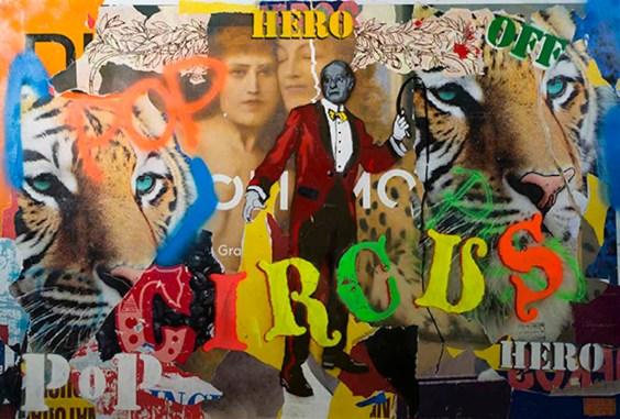 Italiancode, Pop Circus, 2016, tecnica mista su tela, 100x150 cm