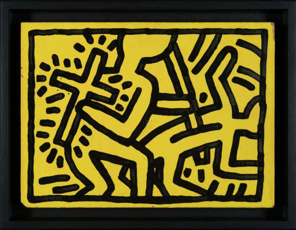 Keith Haring, Untitled, 10 gennaio 1982, inchiostro e olio su legno, 31 x 425 cm, Ginevra, BvB Collection © Keith Haring Foundation