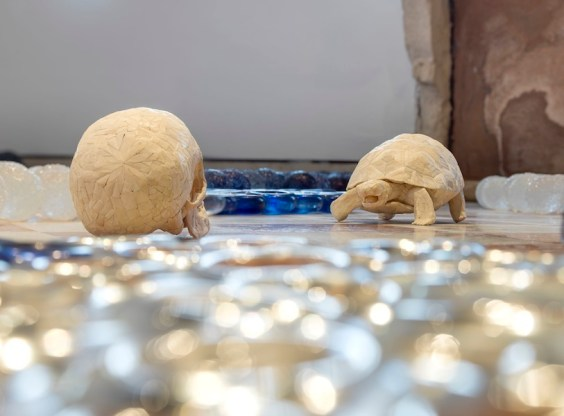 Jan Fabre, Detail of Greek Gods in a Body Landscape, 2011, murano glass, human bones, Bic ink, variable dimensions Photographer Pat Verbruggen Copyright Angelos bvba