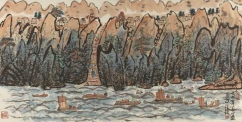 Fang Zhaolin, Salendo montagne e attraversando i fiumi, 1994, inchiostro e colore su carta di riso, 70x138 cm