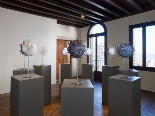 Jan Fabre, Planet I‐IX, 2011, Murano glass, Bic ink, stainless steel, 9 objects, each 58x32 cm, Photographer Pat Verbruggen Copyright Angelos bvba
