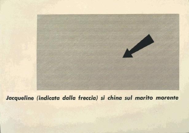 Emilio Isgrò, Poesia Jacqueline, 1965, tela emulsionata, 104x146 cm, Archivio Emilio Isgrò © Courtesy Archivio Emilio Isgrò