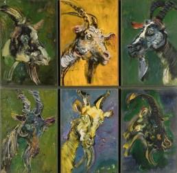 Giancarlo Vitali, Ritratto di capre, 1990, olio su tela, 61x62.5 cm