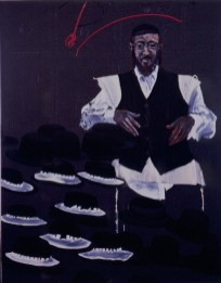 Aldo Mondino, Il cappellaio di Williamsburg, 1990, Oil on linoleum, 240x190 cm Photo credit Giorgio Benni Courtesy Galleria Gian Enzo Sperone