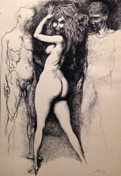 Renato Guttuso, Marta, Renato e Rocco, 1971, china su carta, 73.7x51 cm