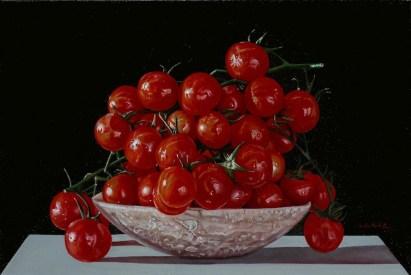 Giuseppe Carta, I pomodorini rossi, olio su tela, 20x30 cm