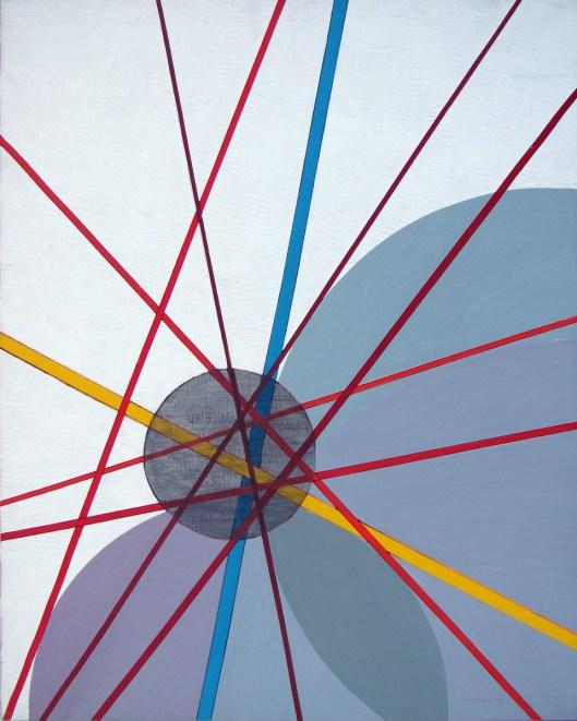 Luigi Veronesi, Costruzione TG9, olio su tela, 1987