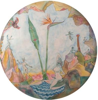 Luigi Ontani, GallAllegoria, china e acquerello su carta, 1990