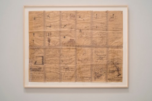 Geta Brătescu, Atelierul: Scenariul (The studio: The film script), 1978, charcoal, colored pencil, and pastel on paper