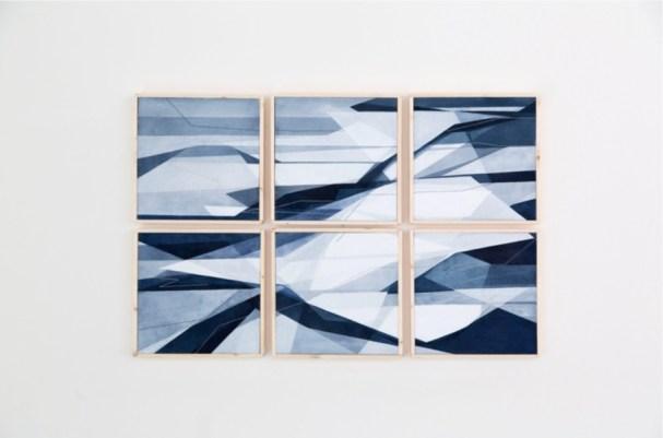 Adua Martina Rosarno, Aerea, 2017, acrilico acquerellato e tessiture su carta, 90x60 cm, polittico, 6 tele 30x30 cm