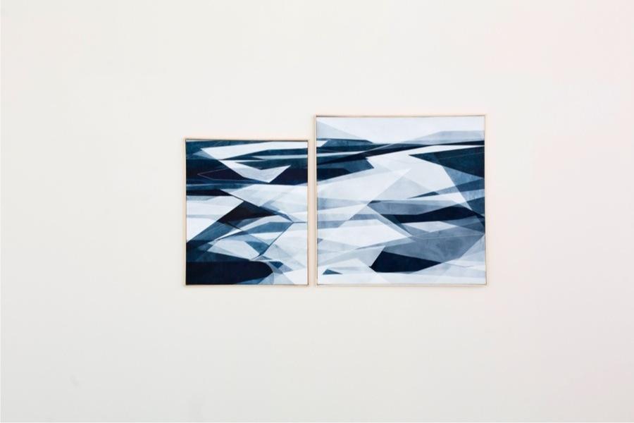 Adua Martina Rosarno, Senza titolo, 2017, acrilico acquerellato e tessiture su tela, 50x60 cm e Senza titolo, 2017, acrilico acquerellato e tessiture su tela, 70x70 cm