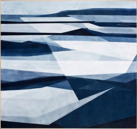 Adua Martina Rosarno, Stato di Necessità, 2017, acrilico acquerellato e tessiture su tela, 150x140 cm