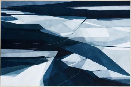 Adua Martina Rosarno, Mite, 2017, acrilico acquerellato e tessiture su tela, 100x150 cm