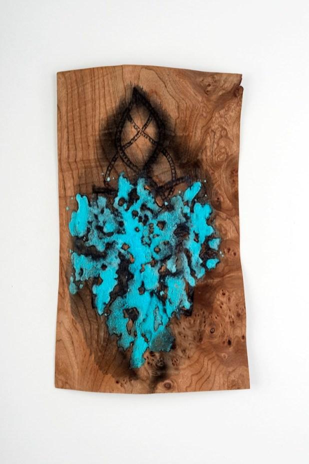 Francesca Romana Pinzari, Corteccia _ from the series Bark, inchiostro di china e solfato di rame su legno, 30x20 cm ciascuno Foto Andrea Veneri Courtesy Gilda Contemporary Art, Milano