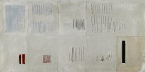 Arturo Vermi, Antologia, 1965, tecnica mista con collage su tela, 50x100 cm Courtesy Fondazione Berardelli, Brescia