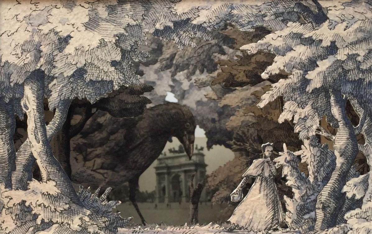 Vanni Cuoghi, Saluti da Milano, 2017, china, collage e acquerello su carta, 21x21x21 cm
