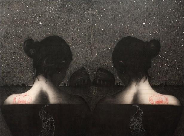 Omar Galliani, Omar, Roma, Amor, 2012, matita nera e pigmento su tavola di pioppo, 315x400 cm