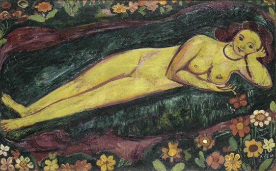 Cuno Amiet, Nudo femminile sdraiato con fiori, 1912, olio su tela, 100 x 160.5 cm, Kunstmuseum Bern, Legat Eduard Gerber, Bern © M.+D. Thalmann, Herzogenbuchsee Photo Kunstmuseum Bern