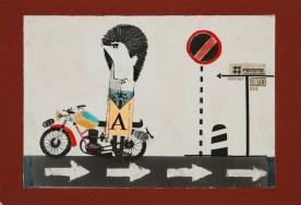 Pino Pascali, Ragazzo con moto, 1961-1962, tecnica mista su carta fotografca cartoncino, 17x23.5 cm