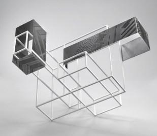 Nadia Galbiati, Spazio costruito IV, 2016, ferro con disegno acidato a morsura, ferro verniciato, 68x90x58 cm