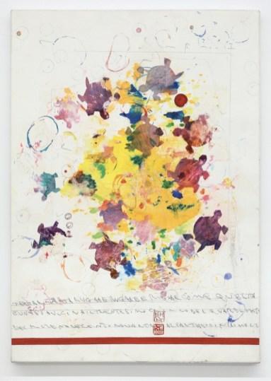 Alighiero Boetti, Senza titolo (Tartar tartarughe rughe e righe), 1990, tecnica mista su carta intelata, 70x50 cm Foto Bruno Bani Courtesy Dep Art, Milano