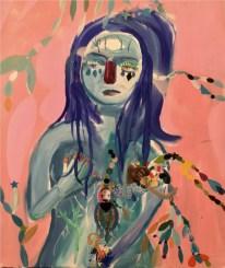 Silvia Argiolas, Triste mentre mi parli di felicità, 2018, tecnica mista su tela, 75x85 cm