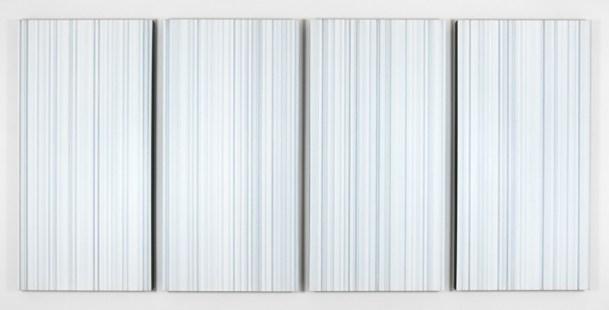 Vincenzo Merola 240 Dice Rolls and 887 Coats, 2018 acrilico su tela, 120x255 cm, 4 elementi da 120x60 cm ciascuno