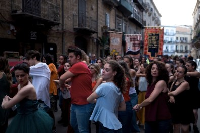 "Marinella Senatore, Palermo Procession, urban performance and mixed media installation, project ""City on Stage"", performance in Palermo Perfomance photo by: Francesco Bellina Photo Courtesy: Manifesta 12 Palermo and the artist"