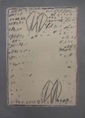 Agostino Ferrari, Racconto, 1963, tempera su carta intelata, 70x51 cm