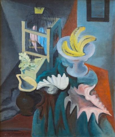 Théodore Strawinsky, La gabbia dei pappagalli, 1946, olio su tela, 73x60 cm, Fondazione T. Strawinsky