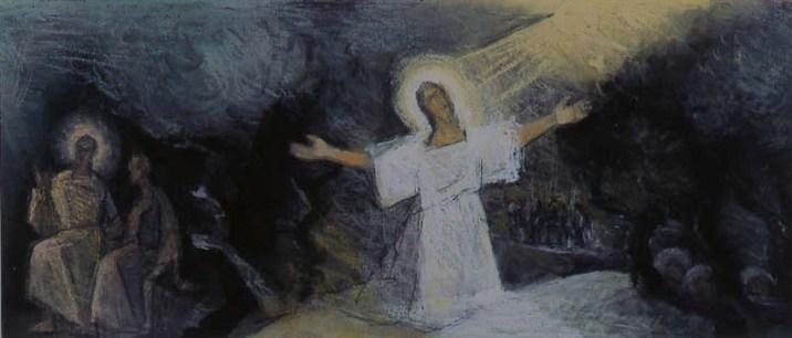 Théodore Strawinsky, Nicodemo, Getsemani (studio per pittura murale), 1972, pastello, 19x44 cm, Fondazione T. Strawinsky